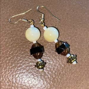 Jewelry - Dangle earrings butter beads and brass with black